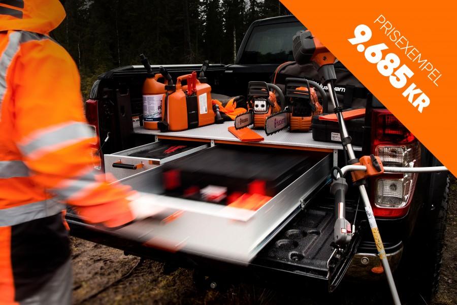 Dubbelgolv och förhöjt golv hjälper dig att få maximalt utrymme i din arbetsbil.