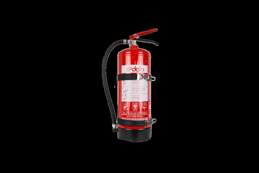 Brandsläckare 6kg pulver ABC godkänd med fordonsfäste.